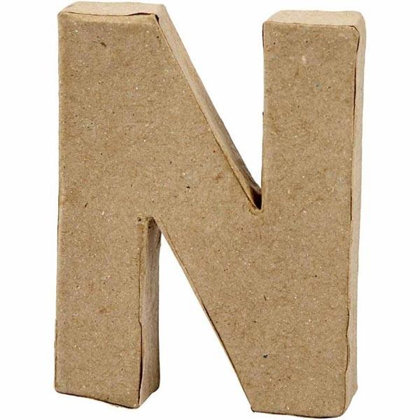 N Buchstabe, handgearbeitet aus Pappe, zum Bemalen/Bekleben, ca. 10 cm