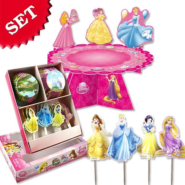 Muffinsdeko-Set Disney Princess: Etagere, Ringe, Förmchen, Stecker