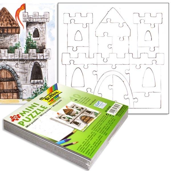 Tolle Schloss-Puzzle im 10er Pack, 14x14,5cm, weiss, zum Anmalen, zum Kindergeburtstag