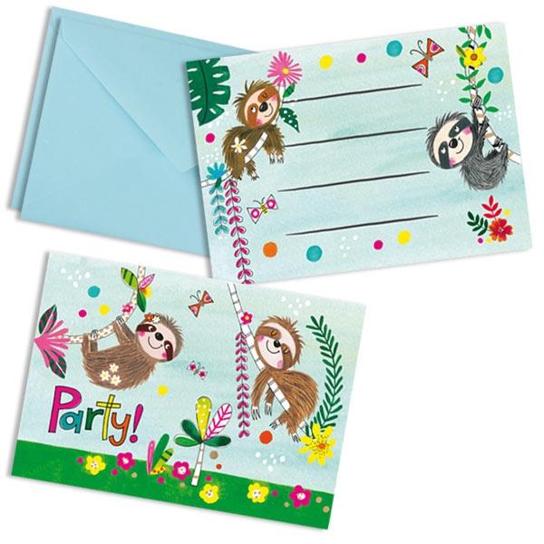 Faultier Einladungskarten, 8 Stk, 14,8cm x 10,5cm