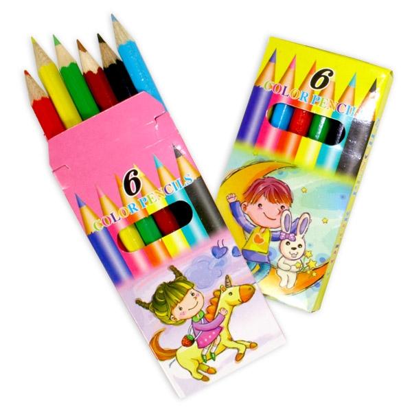 Buntstifte 6er Set zum Malen & Ausmalen, 6 Holzbuntstifte, 9 cm