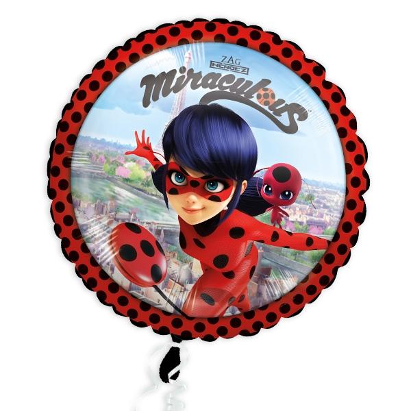 Miraculous, runder Folienballon, 34cm, 1 Ladybug Heliumballon
