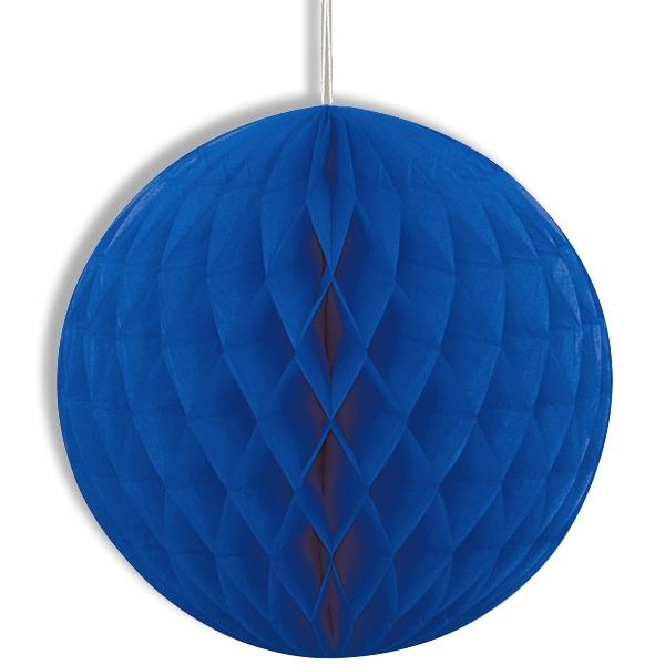Wabenball blau, 20cm, mit Schnur, hübsche Wabendeko aus Papier