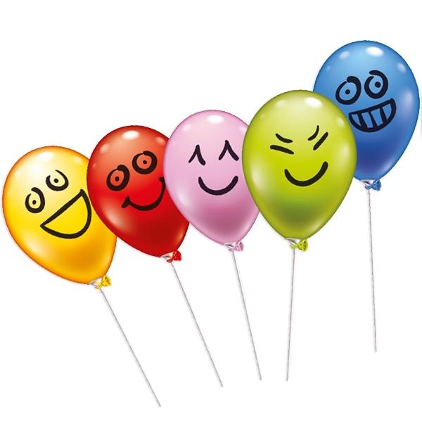 Ballon-Set mit lustigen Gesichtern, 5er Pack, mit Stäben