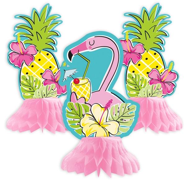 """""""Flamingo & Ananas"""", Waben-Tischdeko, 3er Pack"""