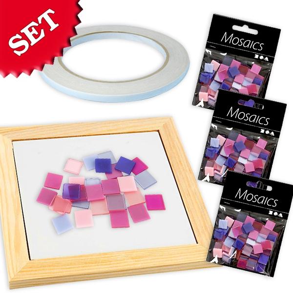 Mosaik Bastelset Pink-Mix, pinke Mosaiksteinchen als Bastelzubehör
