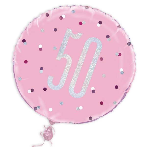 Folienballon rund mit 50, rosa, 35cm, für Helium