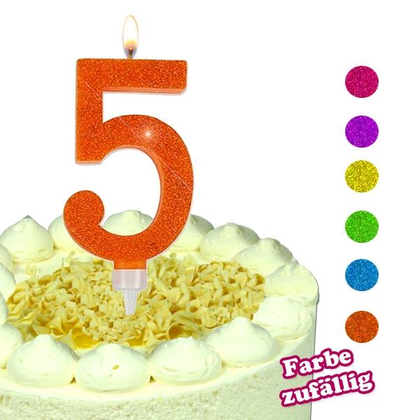 Zahlenkerze 5, große Glitzerkerze für 5. Geburtstag, 9,5 × 5,5 cm, 1 Stück