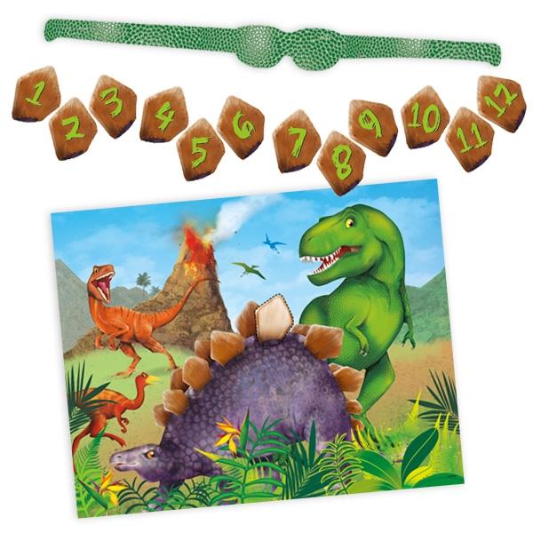 Partyspiel Dinosaurier mit 12 Stickern, 1 Maske und 1 Poster, 48cm x 38cm