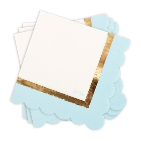 Partyservietten, hellblau/weiß, 16 Stück, 33 cm