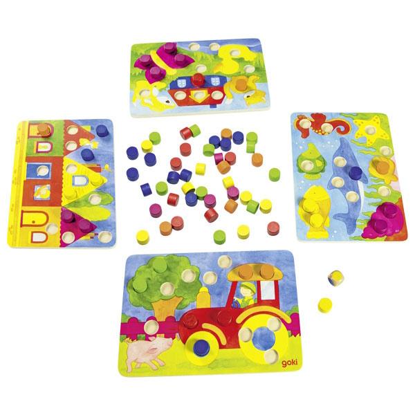 Farbwürfelspiel aus Holz, für 2-4 Spieler