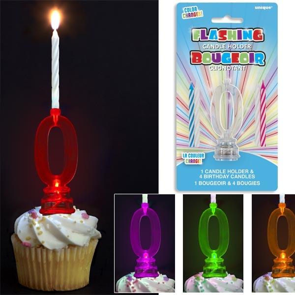 Kerzenhalter als Geburtstagszahl 0 für Fooddeko + 4 Kerzen