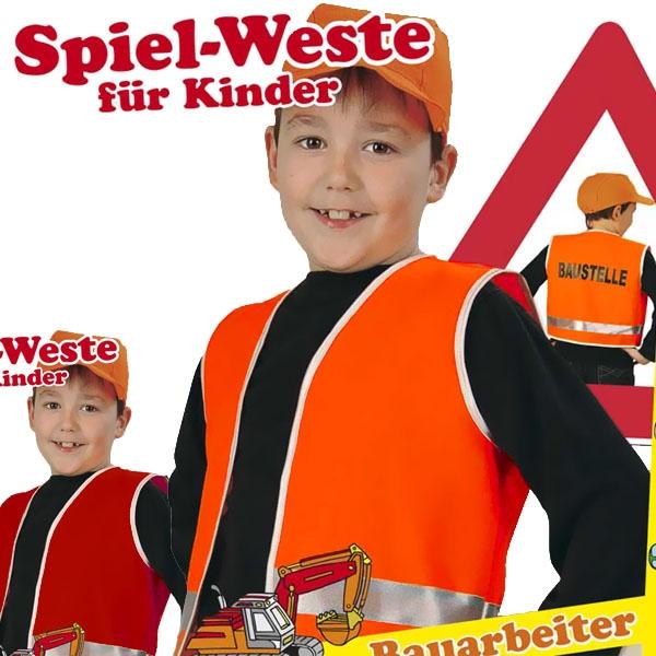Baustellen-Weste mit Aufdruck f. Bauarbeiter-Kostüm, Größe 128