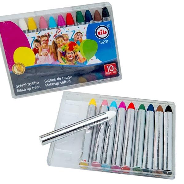 Karnevals-Schminkstifte in 10 bunten versch. Farben, Kunststoffbox