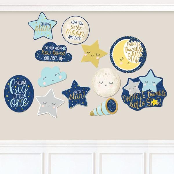 Twinkle - Little Star 12 Motive, Pappe, bis 27,9cm, Babyparty Deko
