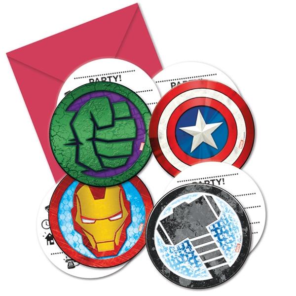 """Einladungen """"Avengers"""" mit Umschlägen, 6er"""