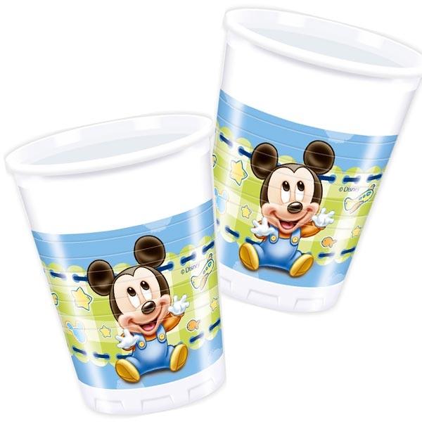8 Mickey Baby Plastikbecher 200ml, Trinkbecher für Disney Partys