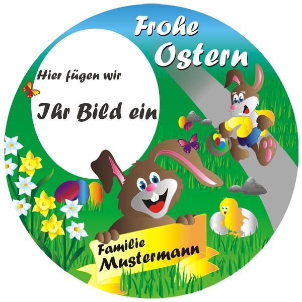 Frohes Osterfest Tortenbild mit Foto, Name, Alter – rund