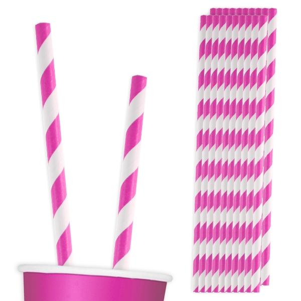 Trinkhalme pink-weiß, 20 Stück, mit Spiralmuster, Plastik-Trinkröhrchen