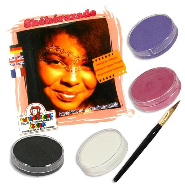Kinderschminke-Set Sheherazade, Top-Motiv, Profi-Aqua, 4 Farben+Pinsel