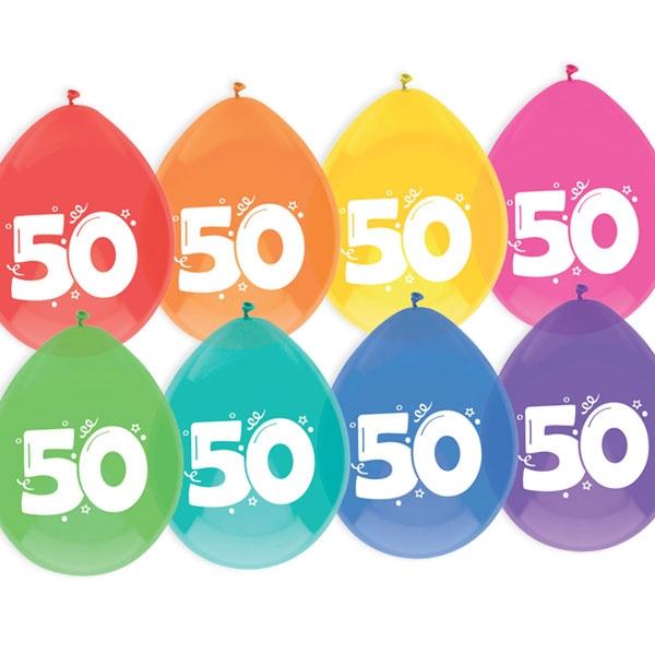 """Luftballons, bedruckt mit der Zahl """"50"""""""
