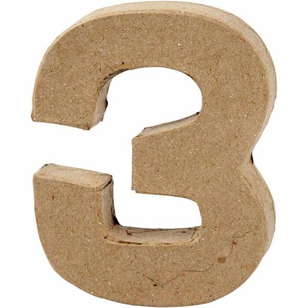 Zahl 3, handgearbeitet aus Pappe, zum Basteln, Bemalen, Verzieren