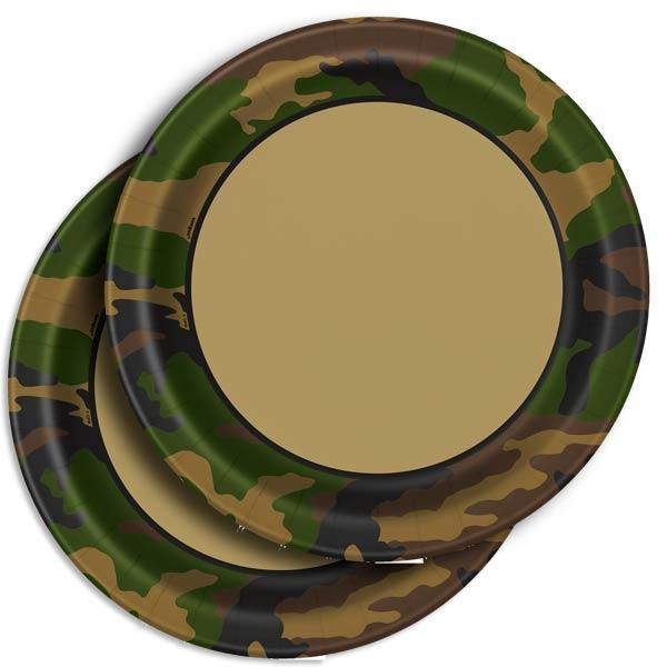 Camouflage Partyteller 8 Stück, 22cm, Pappteller im Tarnfarben-Look