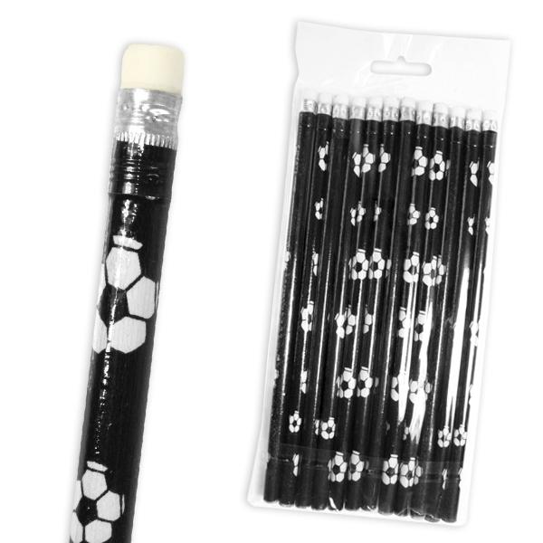 12 Fußball-Bleistifte mit Radierer als Preise für Fußballparty Kindergeburtstag