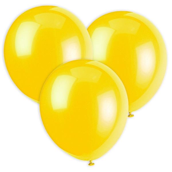 Gelbe Luftballons aus Latex für Spiele und Deko, 30cm, 10 Stück