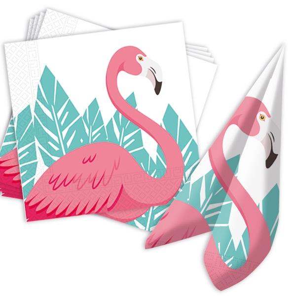 Flamingo Servietten, 20 Stk., 33x33cm