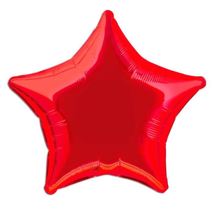 Stern-Folienballon rot, 1 Ballon, ideal zum Füllen mit Helium, 45cm