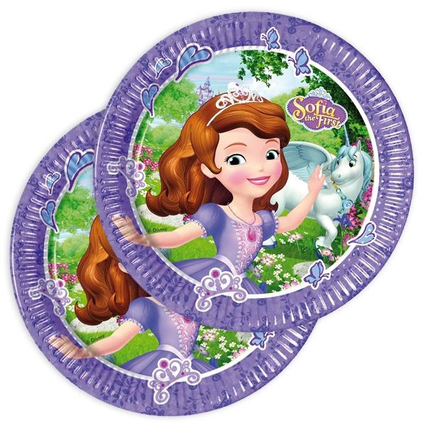 Sofia die Erste Partyteller aus Pappe im 8er Pack für Mädchen, 22,5cm