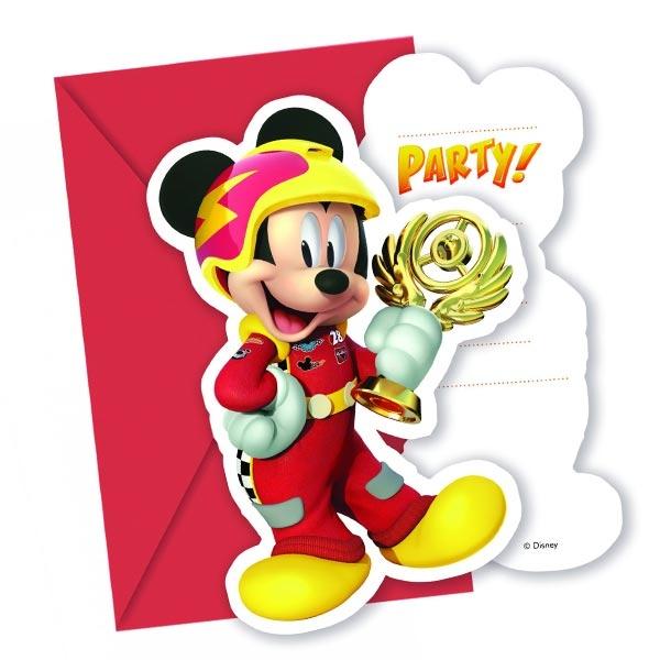 Mickey Roadster Einladungen, 6er, Mickey als Rennfahrer +Umschläge