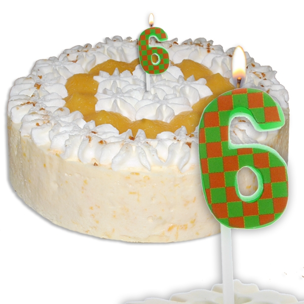 Mini-Kerze Zahl 6, Zahlenkerze für 6. oder 60. Geburtstag, 1 Stück, 2,5 cm