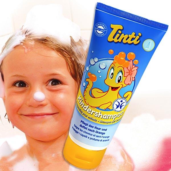 Tinti Kids-Shampoo, pflegt empfindliche Kopfhaut und duftet nach Orange, 100ml