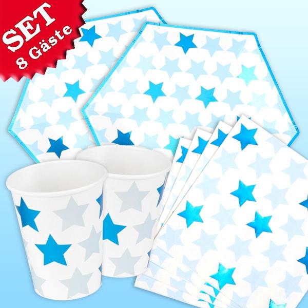 """Basicset """"Kleiner Stern"""" in blau, 32-teilig für bis zu 8 Gäste"""