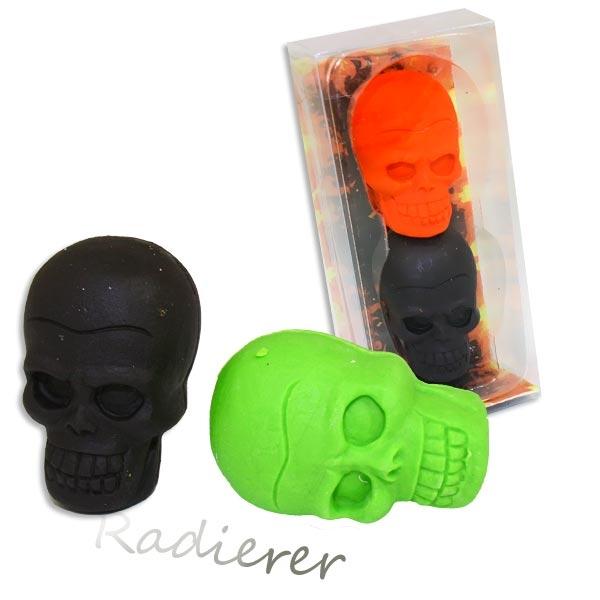 Totenkopf Radiergummis 3cm, 2 Stk., Piratenparty/Halloween Giveaway