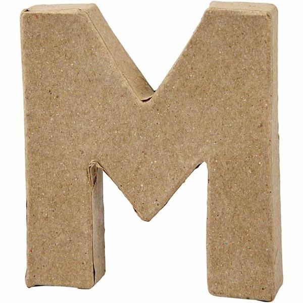 M Buchstabe, handgearbeitet aus Pappe, zum Bemalen/Bekleben, ca. 10 cm