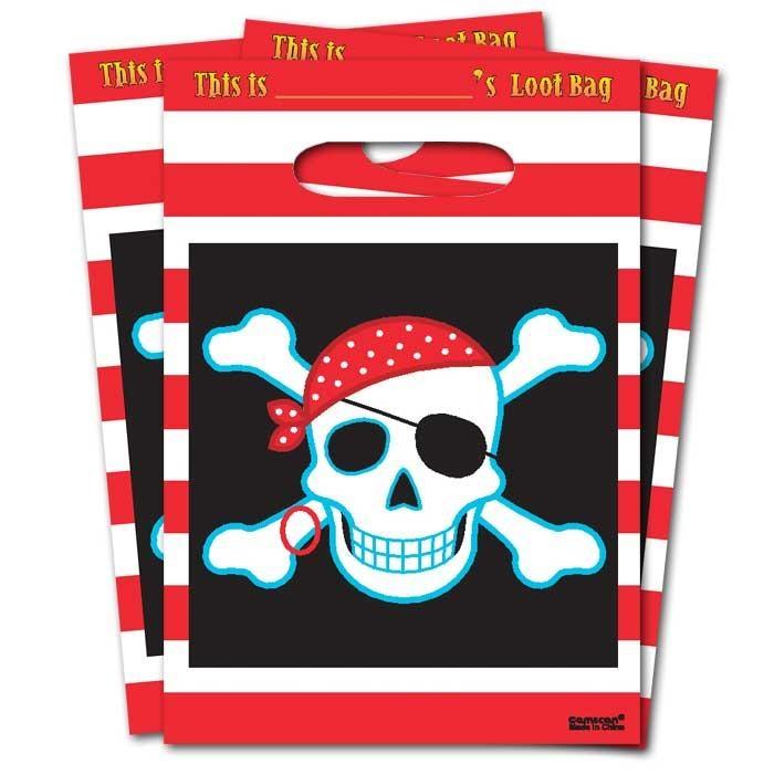 Piraten Tütchen 8er Pack, 25 × 17cm, mit grusligem Totenkopf-Emblem