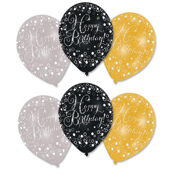 Luftballons Happy Birthday gold, silber, schwarz, Ø 27,5cm, 6 Stk