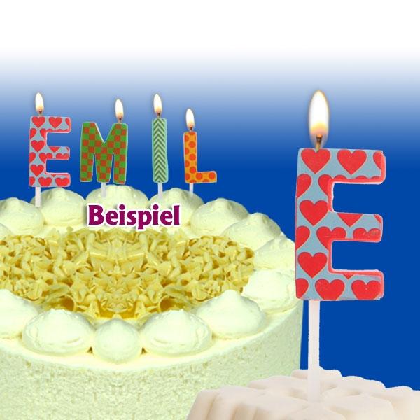 Mini Kerze Buchstabe E, 2,5cm, für Namen vom Geburtstagskind, 1 Stück