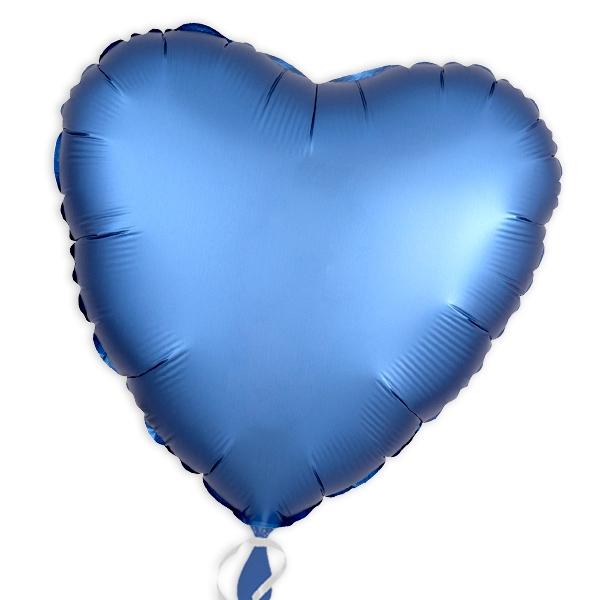Folienballon als Herz Azurblau 34 cm