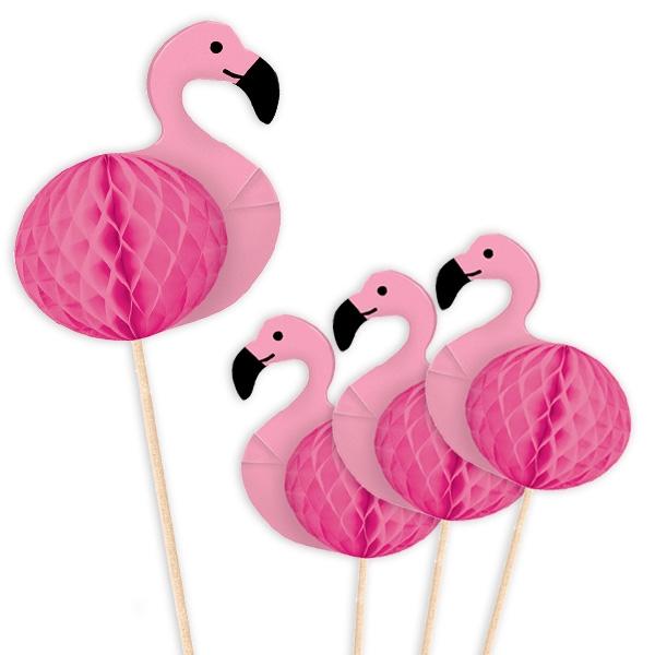 Große Flamingo Dekopicker, 10 Stück