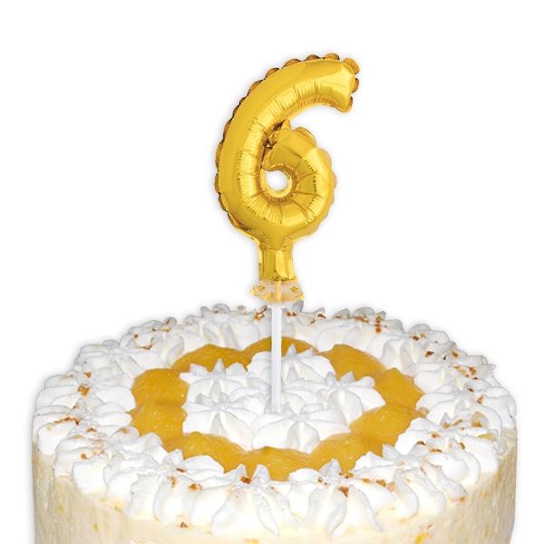 "Mini-Ballon Tortendeko, Zahl ""6"" als Fooddeko zum 6. Kindergeburtstag"