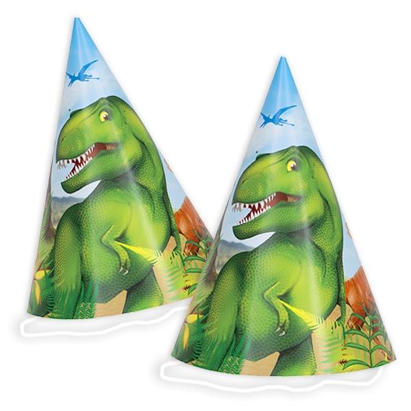 8 Partyhütchen DINOSAURIER, zur T-Rex Kindergeburtstag-Party Junge