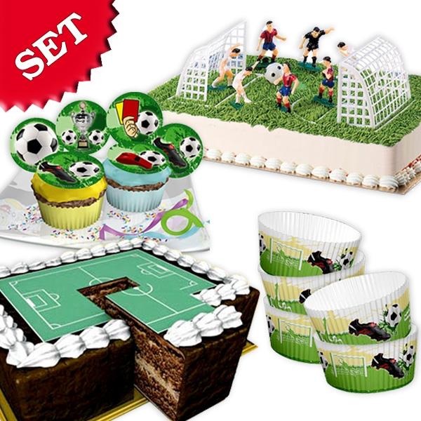 Fußball Tortendeko-Set, 64tlg. mit Fußballer-Figuren, 2Toren, Muffinformen & Muffinauflegern