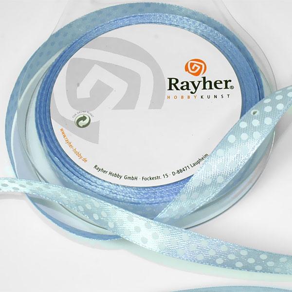 Satinband hellblau mit Punkten, 10m, Seidenband aus 100 % Polyester