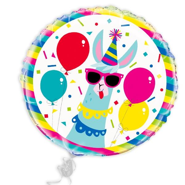 Lama Heliumballon rund, Ballon mit witzigem Party-Motiv, 45cm, 1 Stück