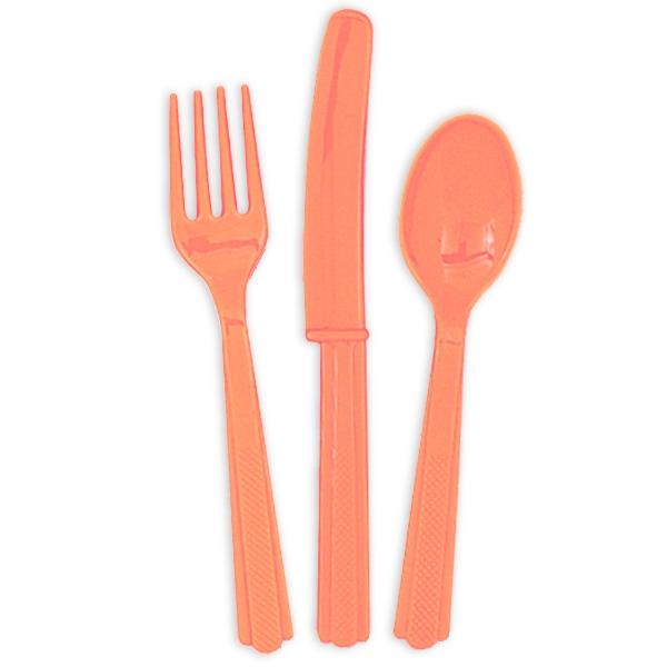 Plastikbesteck in Koralle 18-teilig mit je 6 Gabeln, Messern und Löffel