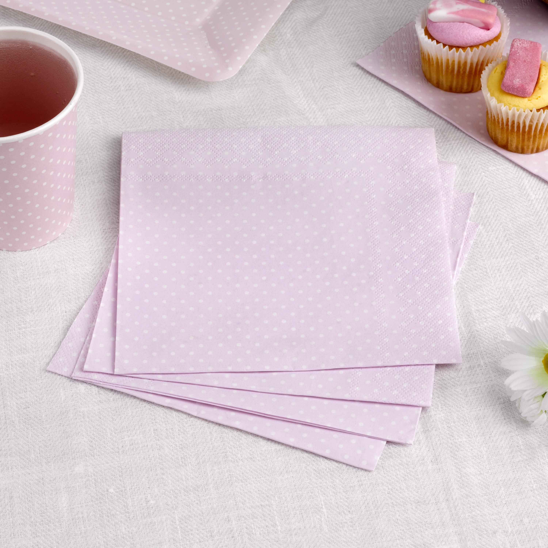 Servietten in zartem rosa mit weißen Punkten, 16 Stück, 33 cm